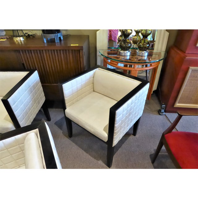 1990s Pietro Costantini Quilted Ultrasuede Yale Armchairs - a Pair For Sale - Image 9 of 12