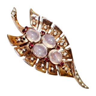 C.1930's Trifari Jeweled Sterling Fur Clip, Brooch For Sale