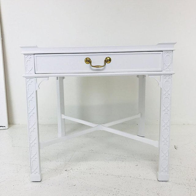 Baker Furniture Company Pair of Lacquered Chippendale Side Tables by Baker For Sale - Image 4 of 7