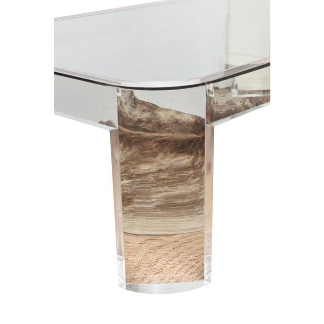 "1980s Vintage Les Prismatiques Lucite and Glass Rectangular ""Luna"" Cocktail Table For Sale - Image 5 of 10"