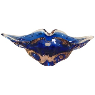 Murano Glass Oblong Bowl Cobalt Blue & Salmon Pink by Salvati, 1960s For Sale