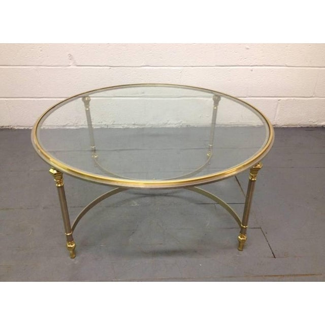 French French Brass and Steel Coffee Table For Sale - Image 3 of 4