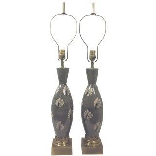 Marbro Ceramic Regency Gray Lamps - A Pair