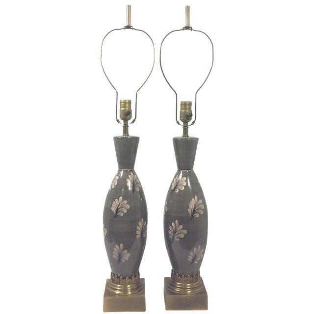 Marbro Ceramic Regency Gray Lamps - A Pair - Image 1 of 11