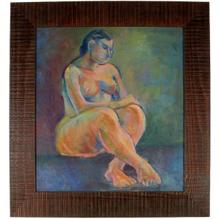 Martin Snipper Expressionist Figure in Oil Paint, 1940s Circa 1940s For Sale