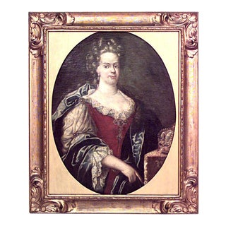 French Louis XVI Crowned Lady Portrait For Sale