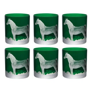 Horse Double Old Fashioned Glasses British Racer Green - Set of 6