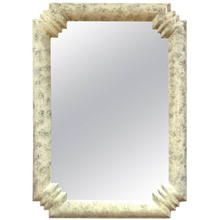 Art Deco Style Lacquered Bullnose Wall Mirror For Sale