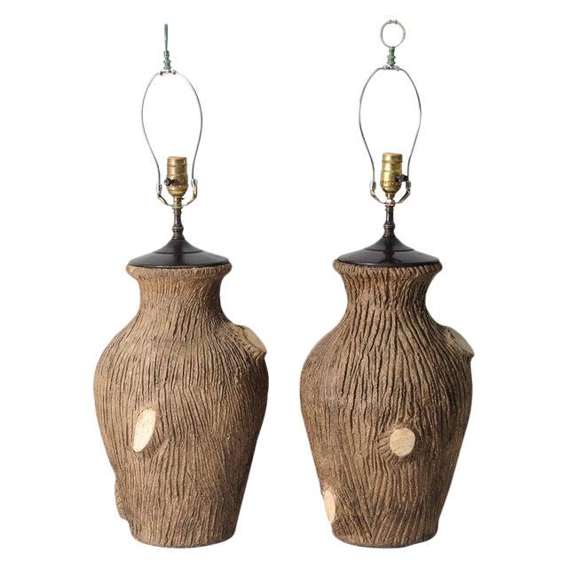 Vintage Faux Bois Pottery Lamps - A Pair For Sale