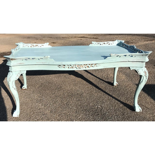 Antique Glass Top Carved Wood Claw Foot Coffee Table - Image 2 of 10