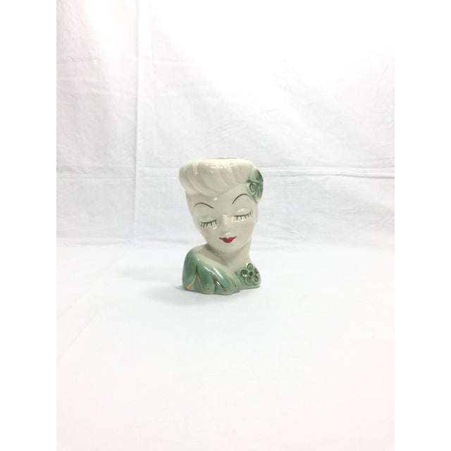 1950's Vintage Mid Century Girl Head Vase or Wall Pocket For Sale - Image 10 of 10