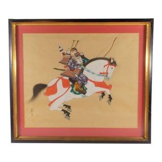 Vintage Japanese Horseback Samurai Signed Painting on Silk For Sale