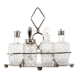 Antique Old English Plated With Cut Crystal Tableware Set - Set of 8 For Sale