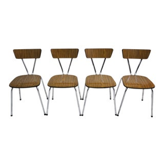 Set of 4 Mid Century Modern Metal Frame and Bent Wood Seat Side/ Dining Chairs For Sale
