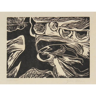 Gwen Stone Monochromatic Linocut Abstract, Late 20th Century For Sale