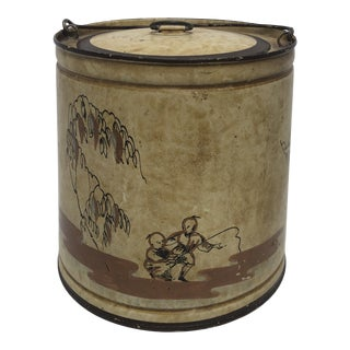 Italian Hand Painted Tole Fishing Bucket For Sale