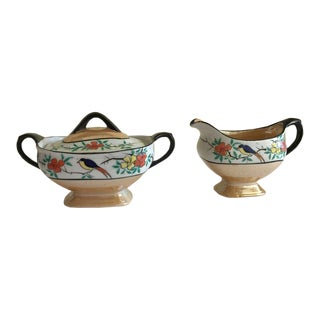 Midcentury Japan Cream & Sugar Lusterware For Sale