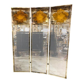Pair of Art Deco Fashioned Three Panel Mirrored Room Dividers or Folding Screens For Sale