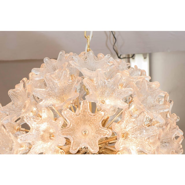 Italian Sputnik Chandelier with Murano Glass Flowers For Sale - Image 4 of 7
