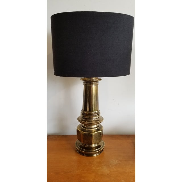 Mid-Century Modern 1960's Vintage Brass Lamp With Black Linen Shade - a Pair For Sale - Image 3 of 4
