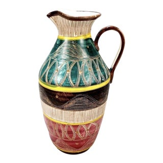 Mid-Century Fratelli Fanciullacci Multi-Color Sgraffito Jug For Sale