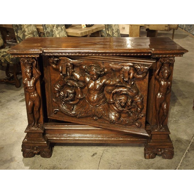 Antique Italian Walnut Wood Buffet / Credenza From Rome, 19th Century For Sale - Image 12 of 13