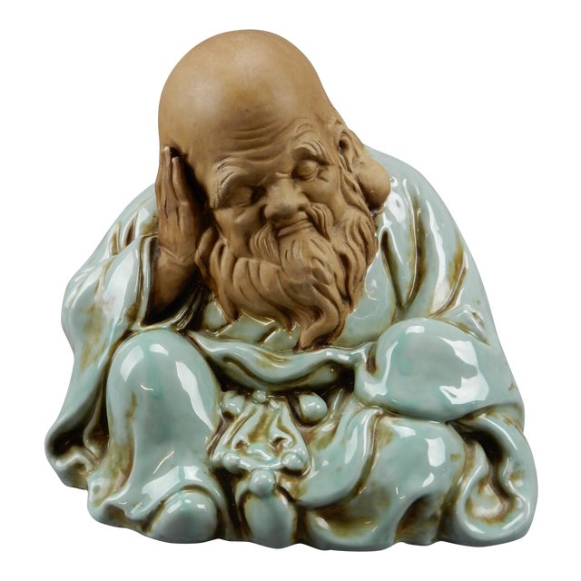Incredible Japanese Kutani Celadon Glazed Fukurokuju Statue For Sale
