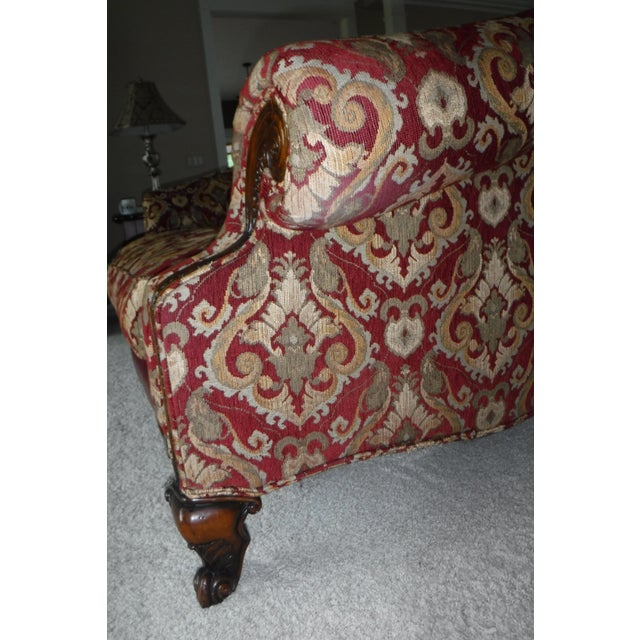 Sherrill Furniture Sherrill Leather & Fabric Burgundy & Gold Sofa For Sale - Image 4 of 6