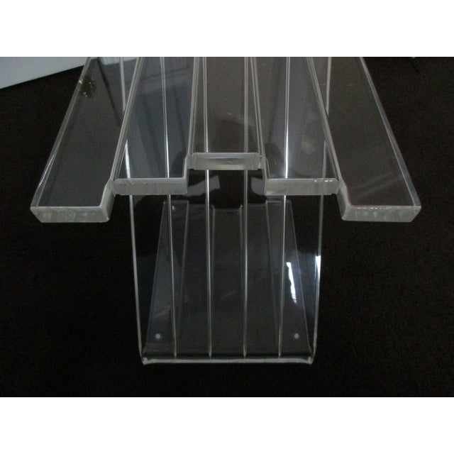 1970s Hollywood Reegncy Lucite Z Shaped Side Table/Plant Stand For Sale - Image 11 of 13