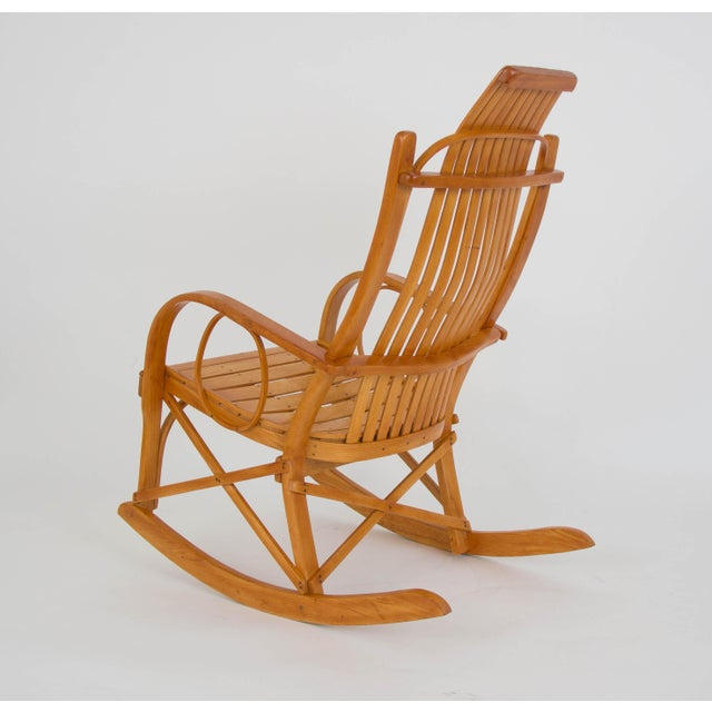 Oak Bentwood Adirondack Rocking Chair with Slatted Seat For Sale - Image 7 of 9