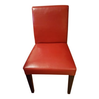 Crate & Barrel Pullman Red Leather Dining Chair For Sale
