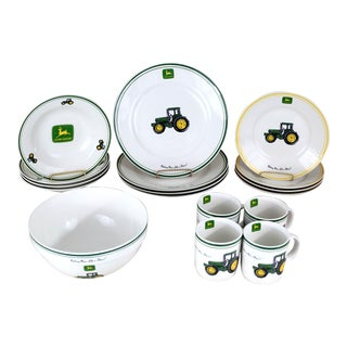 John Deere Dishes - Set of 17 For Sale