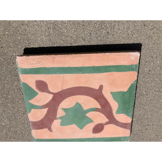 Moroccan handcrafted and hand painted cement tile with traditional leaves design. These are authentic Moroccan encaustic...