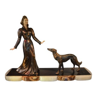Art Deco French Brass Lady With Her Dog Statue on Marble Base For Sale