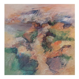 """Contemporary Abstract Acrylic Painting """"Warm Path"""" by Mary Lou Siefker For Sale"""