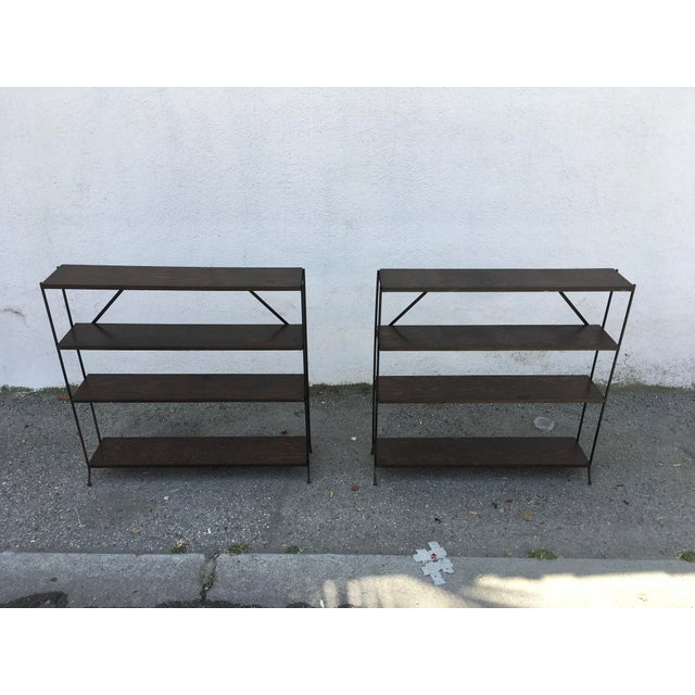 Birch 1950s Modern Style Iron & Wood Shelves - a Pair For Sale - Image 7 of 8