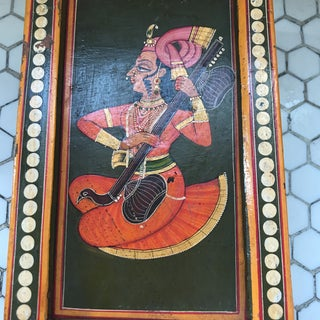 Hand-Painted Indian Sitar Player on Wood Box Preview