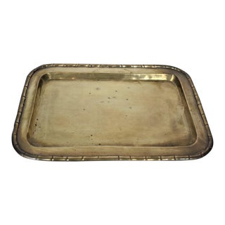 Vintage Decorative Brass Tray With Faux Bamboo Edging For Sale