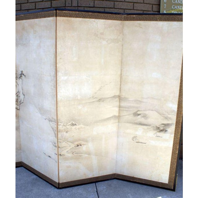 Asian Early 19th Century Chic Large Japanese Landscape Screen For Sale - Image 3 of 4