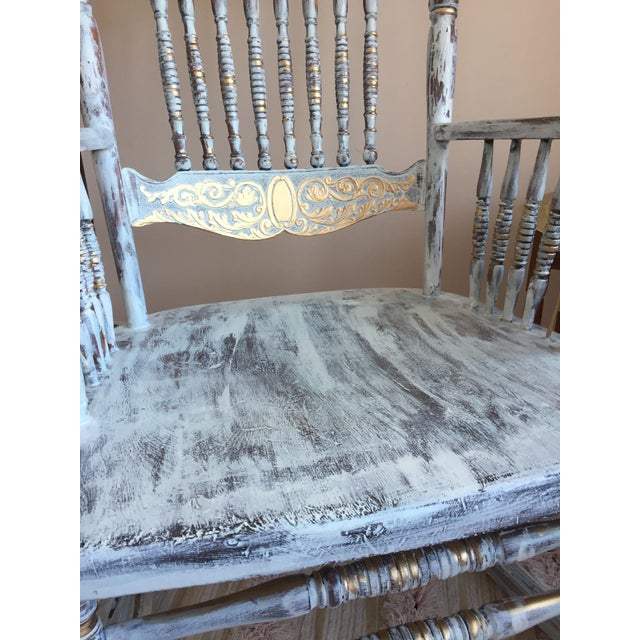 Boho Chic Vintage Hand Painted Rocking Chair For Sale - Image 3 of 8