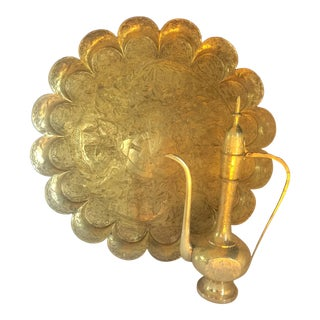 Large Indo-Asian Brass Scalloped Tray and Ewer - a Pair For Sale
