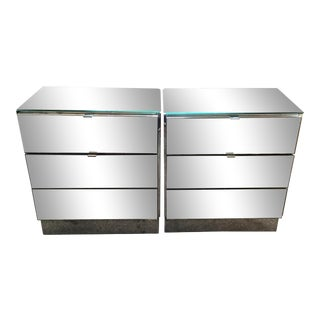 Modern Mirror 3 Drawer Nightstands - a Pair For Sale