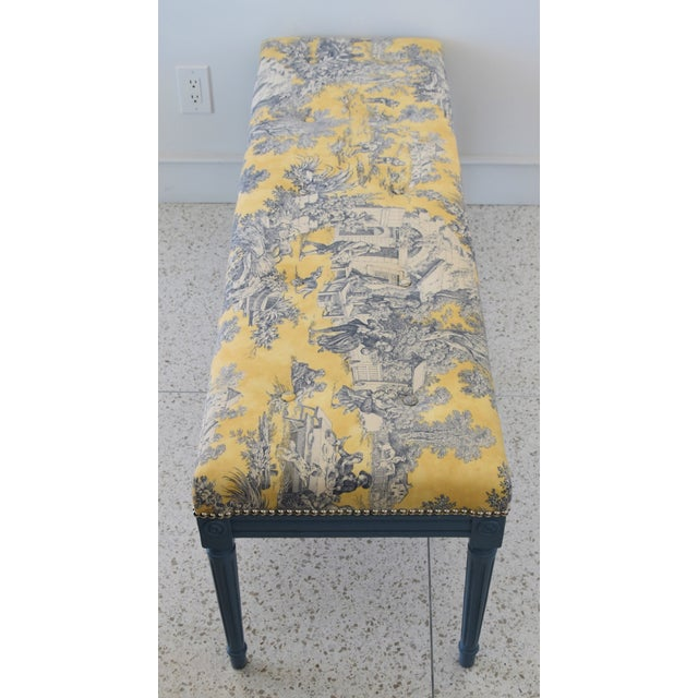 French-Style Yellow, White & Blue-Gray Toile Bench For Sale - Image 9 of 13