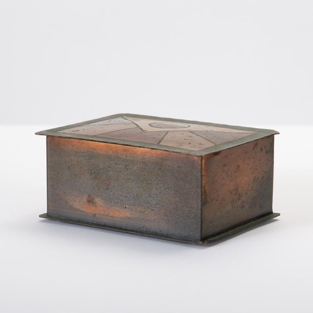 Handmade Copper Box With Painted Geometric Pattern by Craftsman Studios For Sale - Image 4 of 11