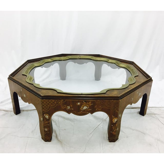 Asian Baker Mid-Century Coffee Table with Brass & Glass Tray Top For Sale - Image 3 of 11