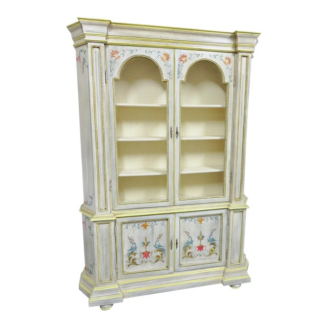 Italian Painted Decorated Bookcase For Sale