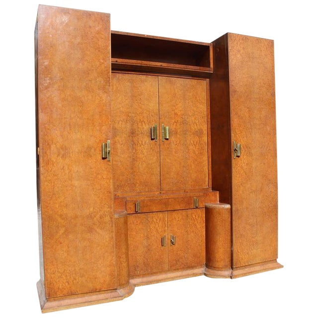 Monumental French Art Deco Burl Amboyna Vanity Armoire Circa 1940s - Image 1 of 8