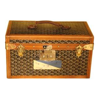 1930s Goyard Jewelry Case, Goyard Trunk, Goyard Train Case For Sale