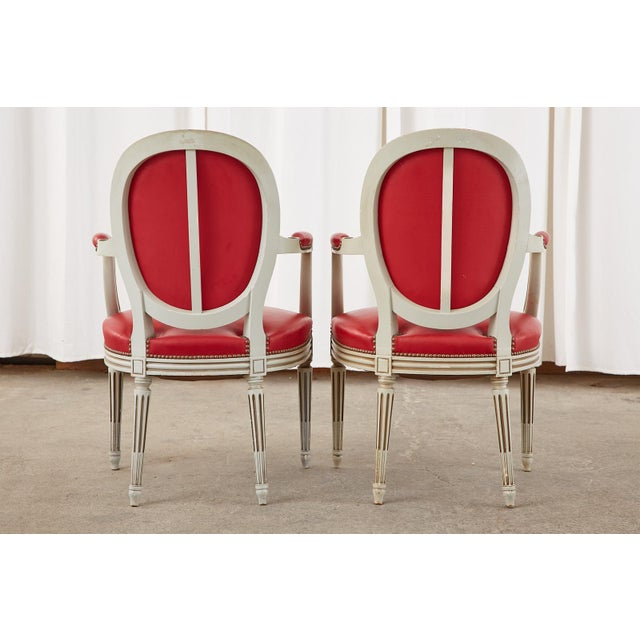Set of Ten French Louis XVI Style Painted Dining Chairs For Sale - Image 12 of 13