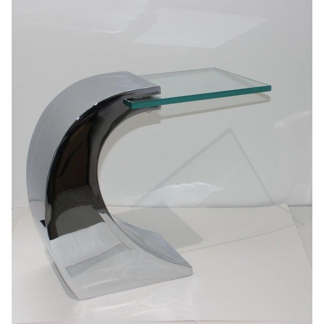 Early 21st Century Vintage Drinks Table Wave Form Polished Steel and Glass For Sale - Image 5 of 13